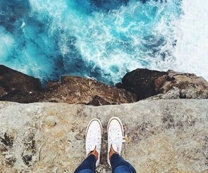 sea, converse, and blue image