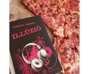 book, food, and pizza image