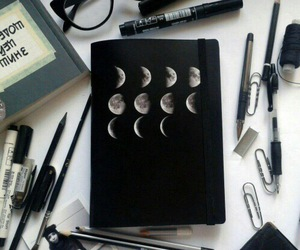 moon, art, and black image