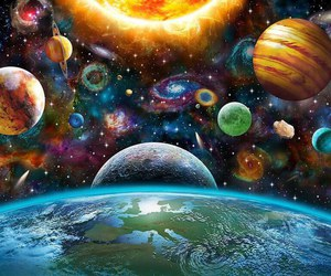 planets, earth, and galaxy image