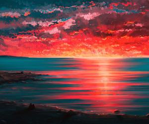 art, scenery, and sunset image