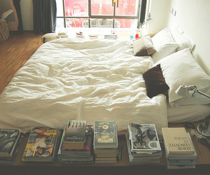 book, bed, and bedroom image