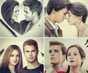 twilight, hunger games, and divergent image