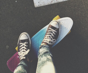 girls, penny board, and photography image