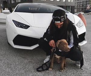 girl, car, and dog image