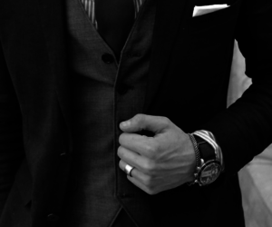 black and white, suit, and tie image