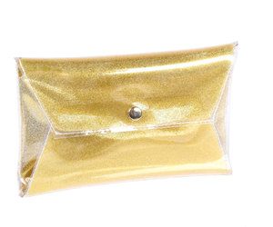 clutch, gold, and clear clutch image