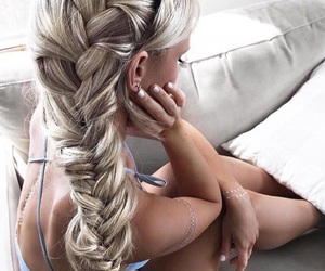 blonde hair, braids, and fashion image