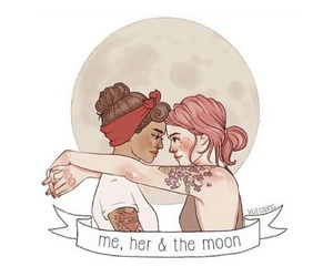 asexual, girls, and moon image