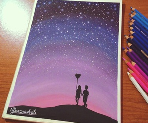 drawing, stars, and love image