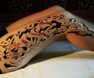 tattoo, 3d, and leg image