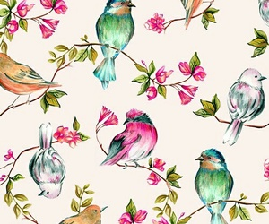 wallpaper, bird, and flowers image