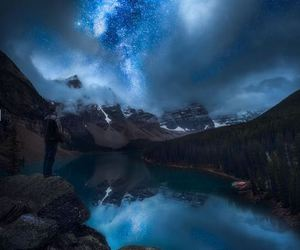 landscape, nature, and stars image