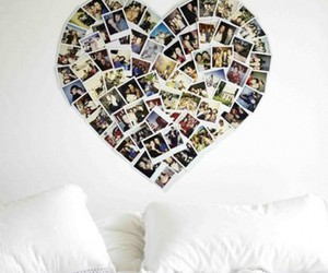 bed, heart, and polaroids image
