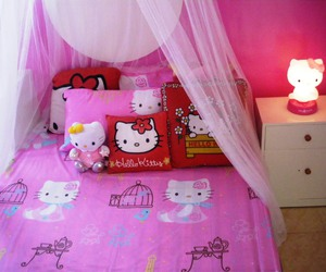 hello kitty, pink, and bedroom image