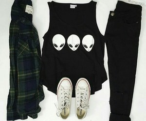 outfit, alien, and converse image