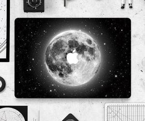 moon, apple, and black image