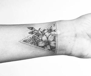 tattoo, flowers, and triangle image