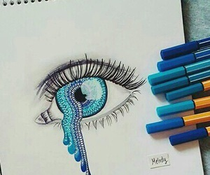 blue, eye, and art image