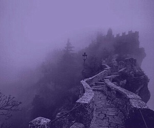 fog, black and white, and castle image
