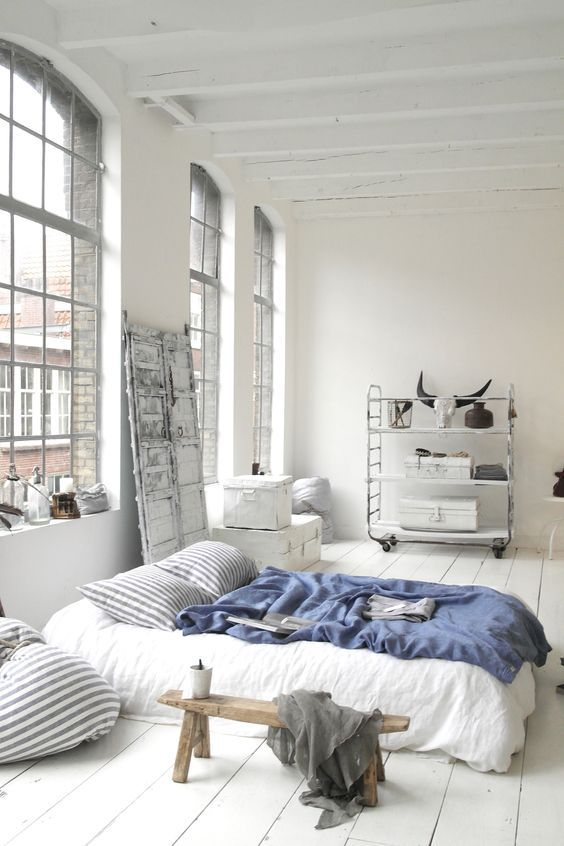 Amazing Urban Bedroom With White Walls White Floorboards And White Bedding Really Scandi And Very Cosy