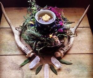 altar, crystals, and wiccan image