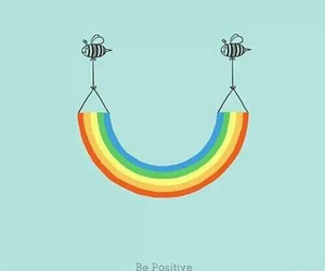 rainbow, bee, and positive image