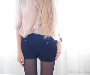 black, blouse, and shorts image