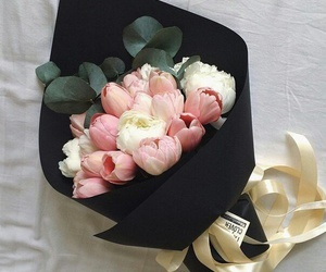 flowers, black, and bouquet of flowers image