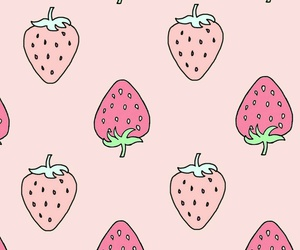 wallpaper, strawberry, and pattern image