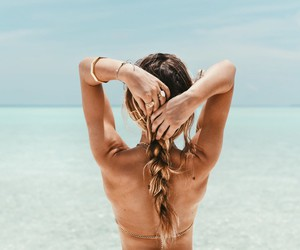 beach, brunette, and long hair image