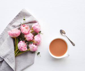 coffee, flowers, and beautiful image