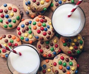 food, milk, and Cookies image