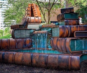 book, fountain, and library image