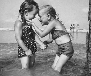friends, beach, and black and white image