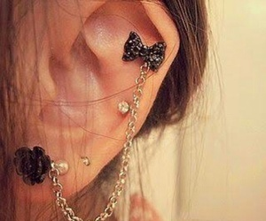 bow, earrings, and girl image