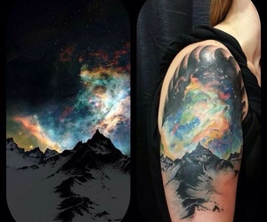 tattoo, inked, and mountains image