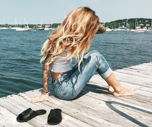 girl, summer, and hair image