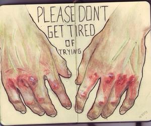 hands, art, and sad image