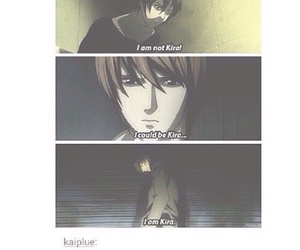 light yagami, death note, and kira image