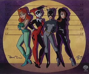 harley quinn, catwoman, and poison ivy image