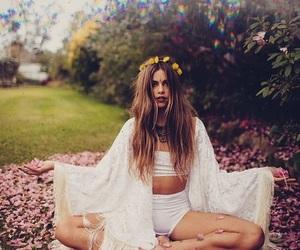 girl, boho, and flowers image
