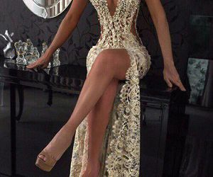 dress, gold, and luxury image