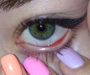 eye, green, and nails image