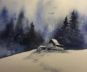 art, painting, and winter image
