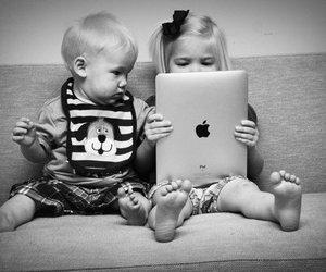 black & white, children, and curiosity image