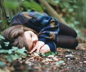girl, nature, and sleep image