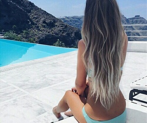 beach, ombre, and hair image