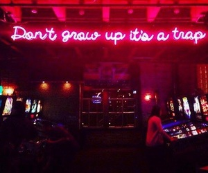 arcade, don't give up, and neon lights image