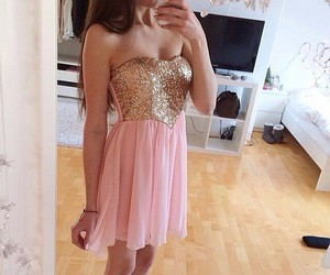 dress, pink, and gold image